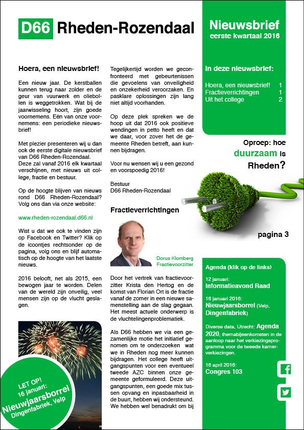 Nieuwsbrief D66 RhedenRozendaal 1e kwartaal 2016webversie